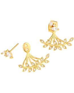 Golden Mixed Cz Crystal Leaf Jacket Earrings