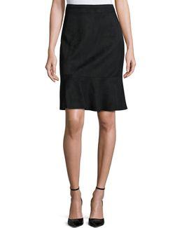 Bellamy Faux-suede Ruffle Skirt