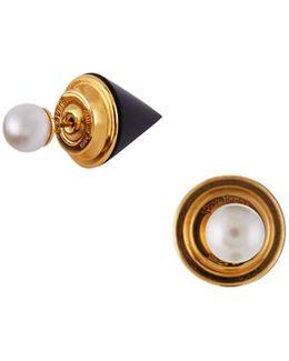 Double Titan Pearl & Onyx Jacket Earrings
