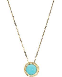 Audrey Turquoise Button Pendant Necklace