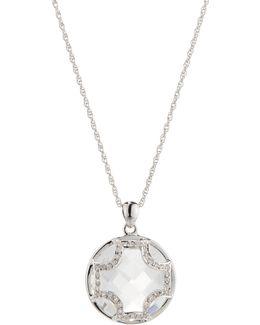 White Quartz Maltese Cross Pendant Necklace