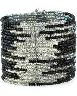 Wide Beaded Wire Cuff Bracelet