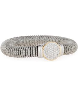 Cable Spring Coil Bracelet W/ Pave Diamond Station