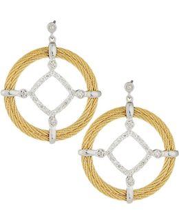 Classique Pave Diamond Circle Drop Earrings