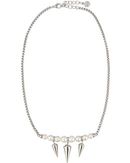Spiked Pearl Pendant Necklace