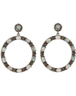 Round Labradorite & Diamond Drop Earrings