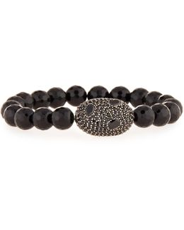 Pave Black Spinel Stretch Bracelet