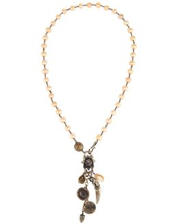 Long Champagne Pearl Pendant Necklace