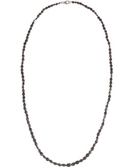 Long Spinel Beaded Necklace W/ Pave Diamond Clasp