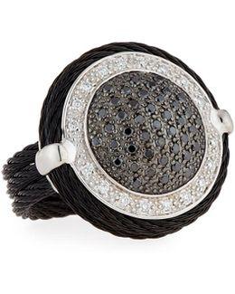 Noir Round Black & White Diamond Cable Ring