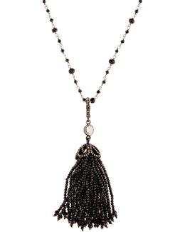 Long Black Spinel & Diamond Tassel Necklace