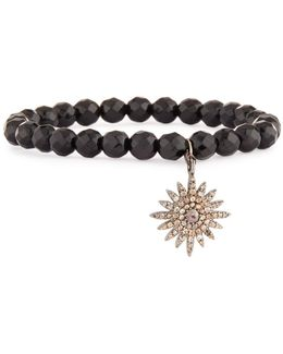 Black Spinel & Pave Diamond Sun Charm Bracelet