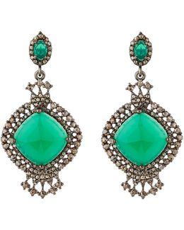 Green Onyx & Champagne Diamond Drop Earrings