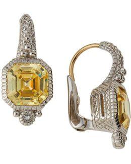Estate Asscher-cut Cz Drop Earrings
