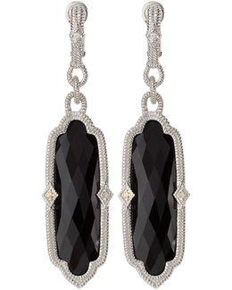 Chelsea Elongated Onyx & Sapphire Dangle Earrings