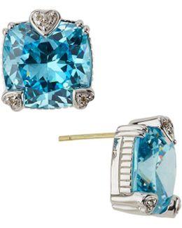 Fontaine Cushion-cut Crystal Button Earrings