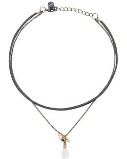 Double-strand Leather & Quartz Choker Necklace