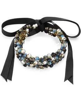 Beaded Ribbon Choker Necklace