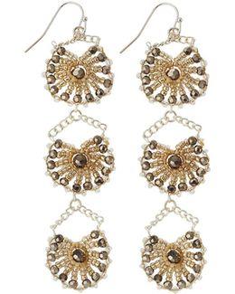 Crystal Triple-drop Statement Earrings