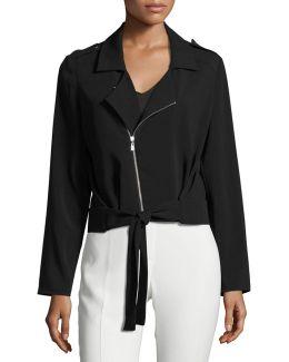 Tie-front Crepe Jacket