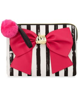 Bow And Arrow Striped Bow Pouch Bag