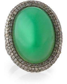 Pave Diamond & Chrysoprase Cocktail Ring