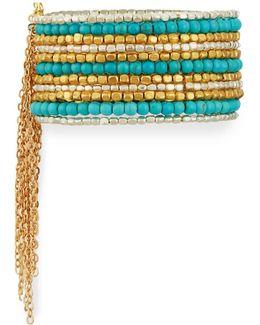 Wide Beaded Cuff Bracelet W/ Chain Fringe