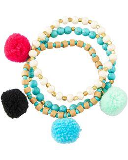 Beaded Pompom Bracelets