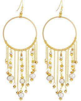 Hoop Drop Earrings W/ Pearl-chain Fringe