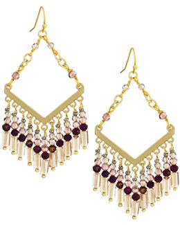 Diamond-shaped Drop Earrings W/ Beaded Fringe