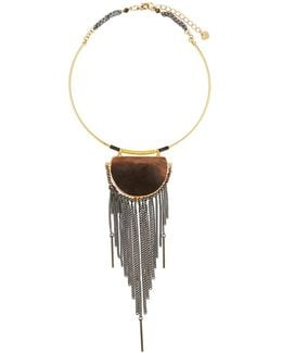 Statement Choker Necklace W/ Jasper Pendant & Chain Fringe