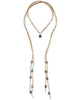 Long Suede & Pearl Lariat Choker Necklace