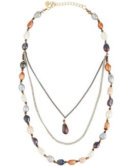 Triple-layer Multicolored Freshwater Pearl Necklace