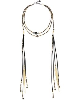 Multi-strand Beaded Choker W/ Tasseled Chain Dangles