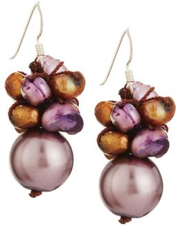 Mixed Freshwater Pearl Cluster Drop Earrings