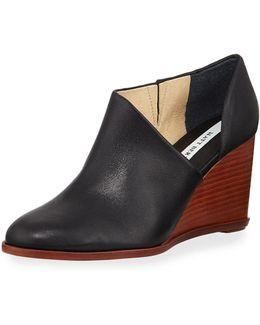 Edie Leather Half-d'orsay Wedge Bootie