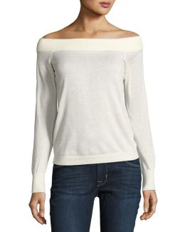 Wool-blend Off-the-shoulder Sweater