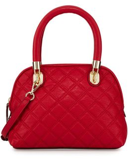 Benson Small Quilted Leather Dome Satchel Bag