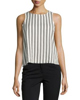 Striped Top With Lace-up Back