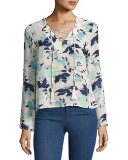 Long-sleeve Tasseled Lace-up Floral Top