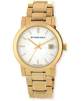 34mm Yellow Golden-plated City Watch