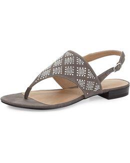 Merian Cystal Suede Thong Sandal