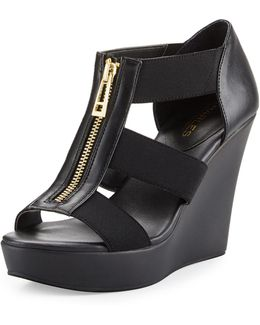 Paul Zip-front Leather Wedge