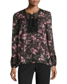 Linda Floral Lace-trim Blouse