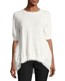 Celia Scallop-trim Sweater