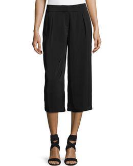 High-waist Pleated Culotte Pants