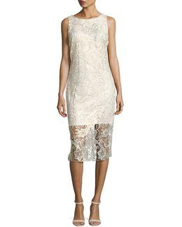 Gold-shimmer Lace Midi Dress