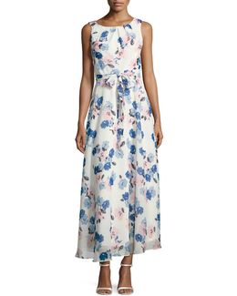 Sleeveless Pleated-neck Floral-print Maxi Dress