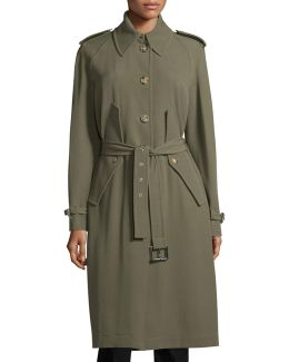 Button-front Belted Trench Coat