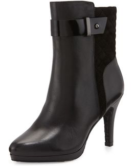 Galina Quilted-suede Leather Bootie